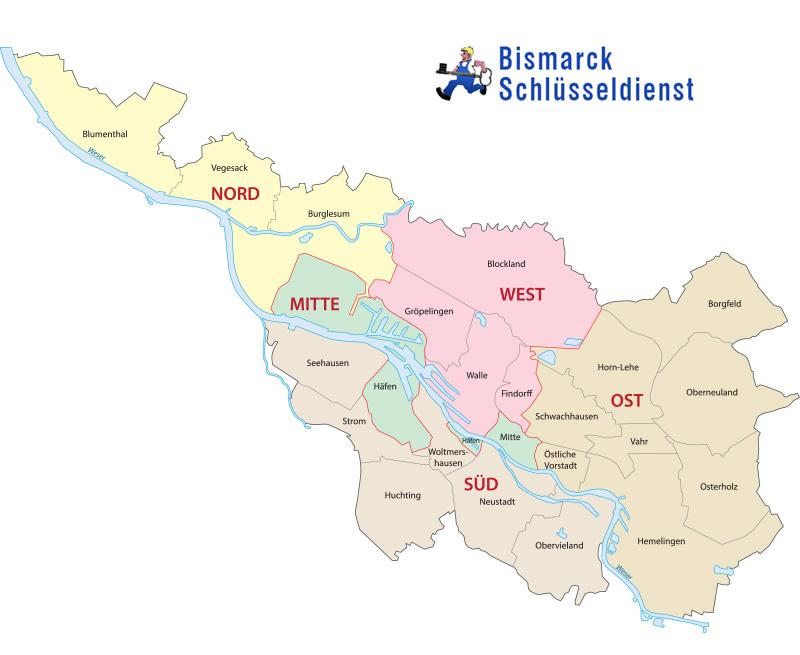 Bismarck Schlüsseldienst Einsatzgebiete